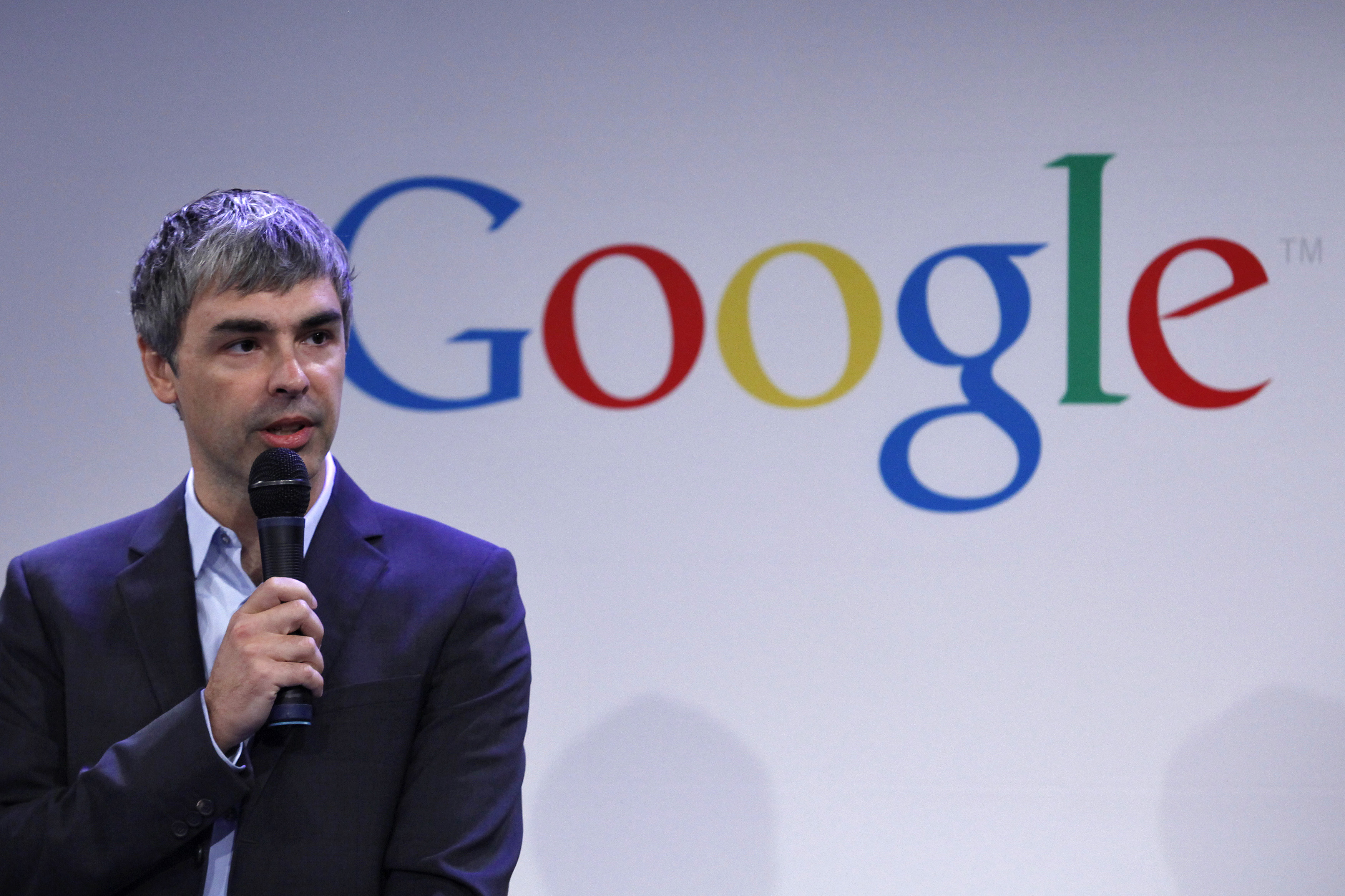 Google CEO Larry Page speaks during a press announcement at Google's headquarters in New York, May 21, 2012. Google will allocate some 22,000 square feet of its New York headquarters to CornellNYC Tech, while the university completes its campus on Roosevelt Island. The space will allow Cornell to build its presence in New York in close proximity to the tech companies and entrepreneurs with whom it will collaborate, according to media reports. REUTERS/Eduardo Munoz (UNITED STATES - Tags: SCIENCE TECHNOLOGY BUSINESS EDUCATION) - RTR32F46